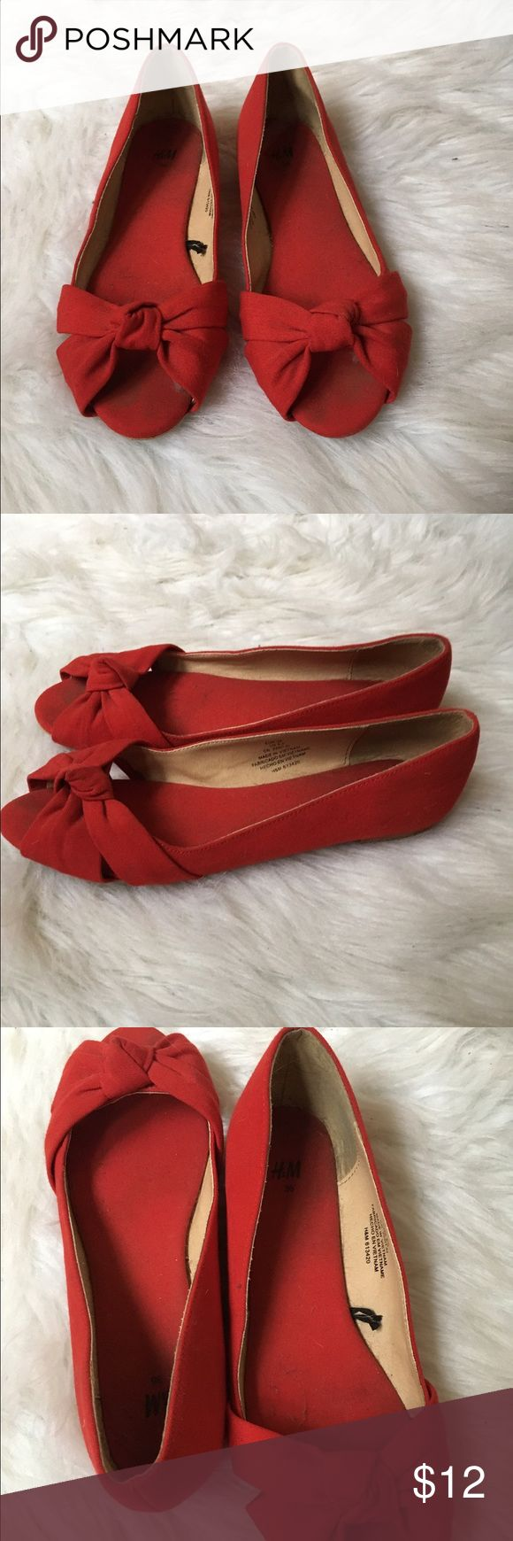 Red peekaboo toe bow flats Only worn once😊 H&M Shoes Flats & Loafers