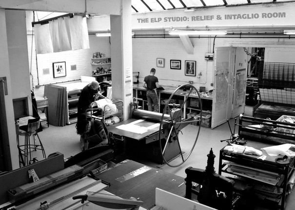 East London Printmakers (ELP) is a spacious and modern print studio providing open access facilities for screenprinting, etching, and relief printing. It is run by a group of artist/printmakers with a wide range of experience and knowledge. We also run workshops for anyone who wants to learn printmaking and organise regular exhibitions and events for our members. Visitors are welcome during open access hours.