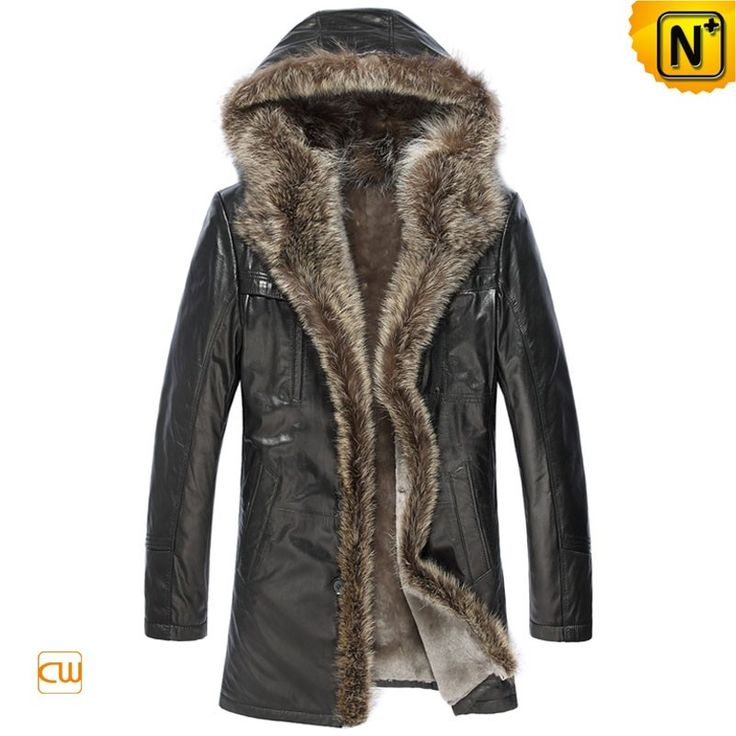 """CWMALLS® Pittsburgh Custom Hooded Fur Coat CW877158 - Original designer hooded raccoon fur coat for men, beautifully crafted from ecological sheepskin shearling material in a classic black color, the fur trimmed hood protects you against the cold winds, this hooded black fur coat will always keep you isolated from the chilliness even in the """"Ice Age"""", and you can also have this hooded fur coat customized according to your actual measurements."""