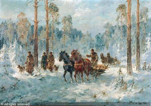 Władysław Chmieliński 'Wyjazd na Polowanie'/'Leaving for the Hunt'