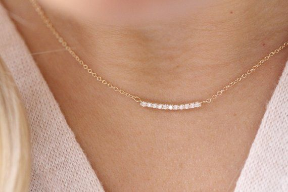 Diamond Necklace / 14k Solid Gold Necklace / Bar Necklace / Minimalist Necklace
