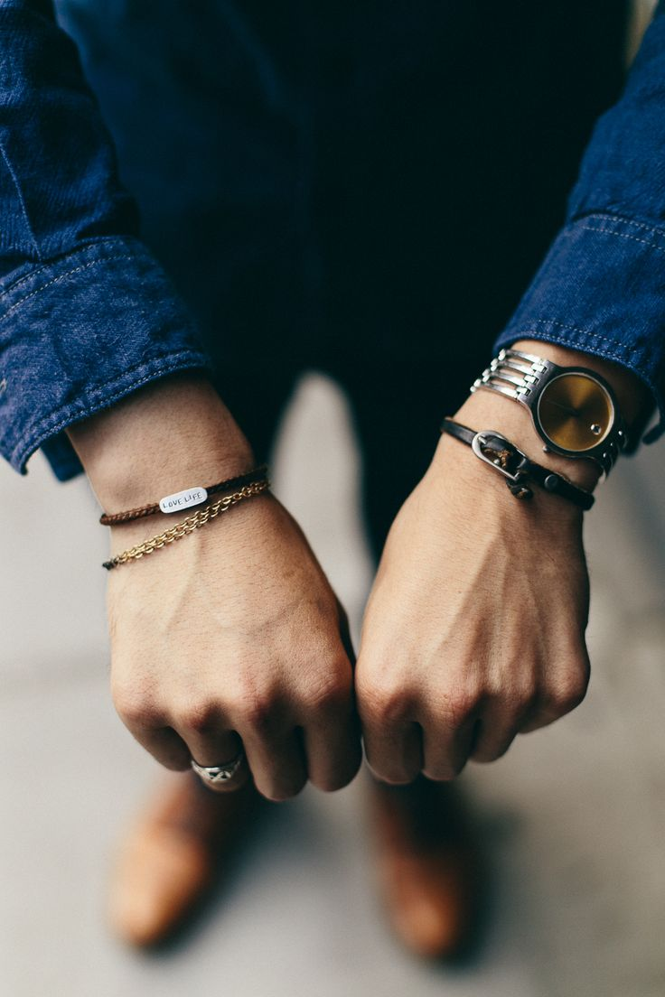Wrist metals, ropes and and leathers. Accessorised wisely .  --- FOLLOW US ON PINTEREST for Style Tips, Men's Basics, Men's Essentials on anything, OUR SALES etc... ~ VujuWear
