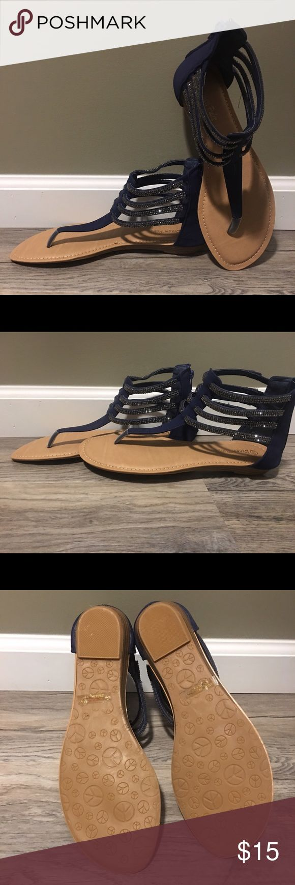 Navy blue bling dress sandals flats These beauties are size 10! Navy blue sandals with bling! Bought these for a wedding and didn't end up wearing them so they are new, never worn! Shoes Sandals