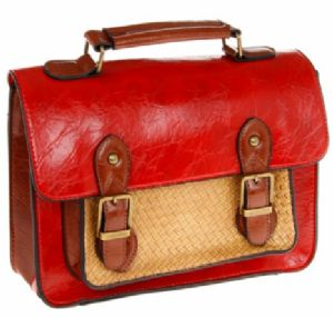 Red, Brown & Tan Leather-look Satchel Bag by Equilibrium 6085