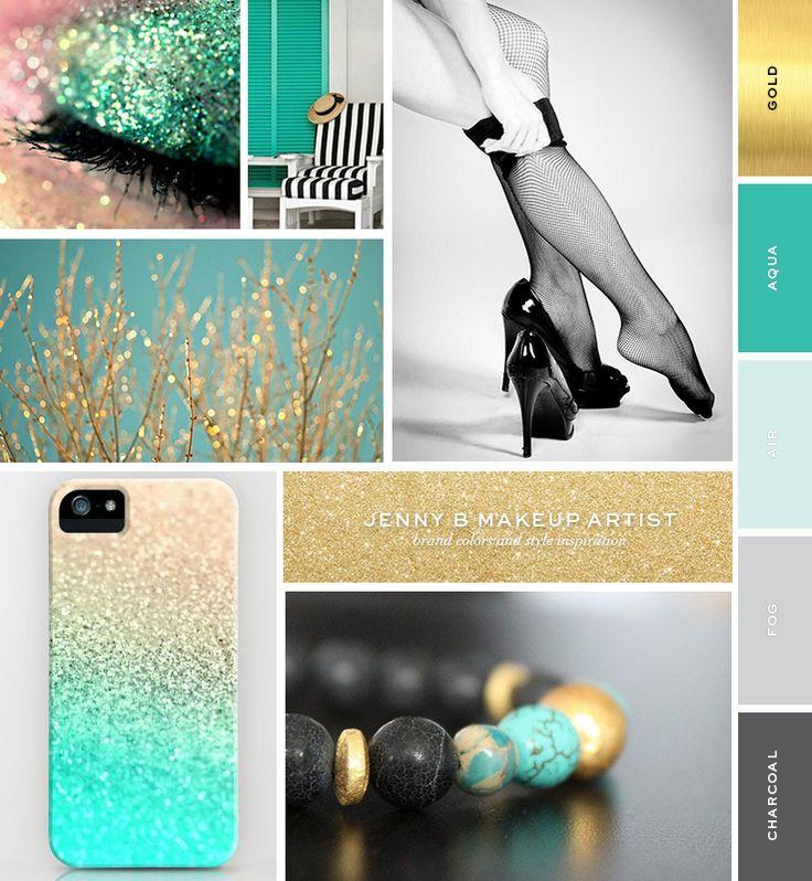 Jenny B Makeup Artist Logo Brand Board Aqua, Turquoise, Grey, Gray, Charcoal, Black, Gold, Mood Board Inspiration Board - Laura James Studio >> Branding Photography Design