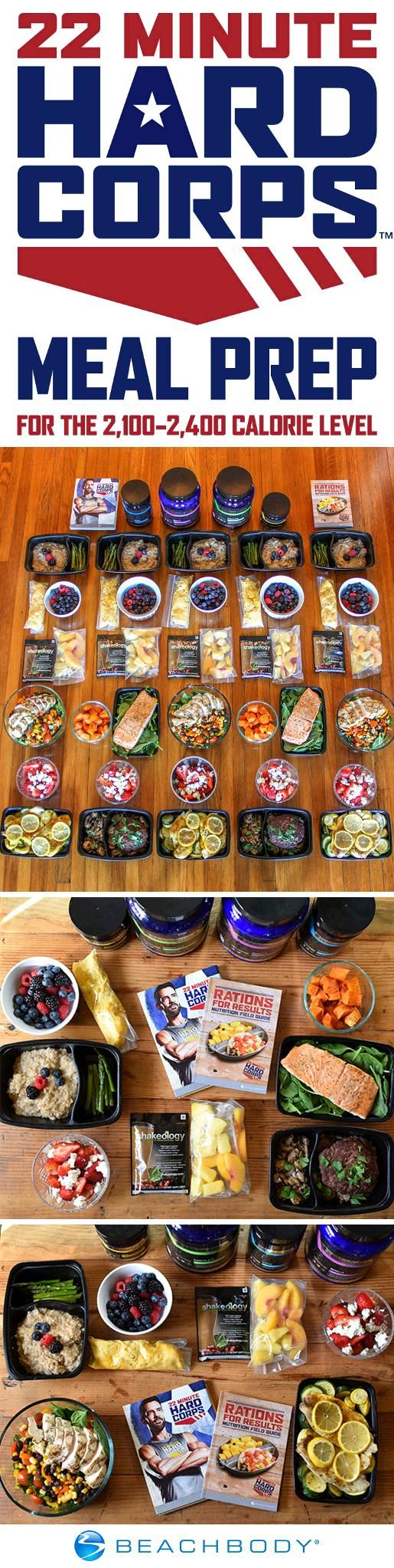 Prep yourself for a successful week with 22 Minute Hard Corps and this meal prep plan to go along with it! This meal prep menu fits into the 2,100–2,400 calorie range, and although it's geared toward 22 Minute Hard Corps, it can work for almost any program. // Beachbody // BeachbodyBlog.com