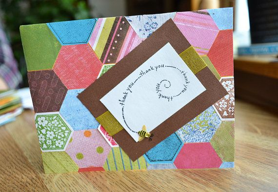 Bee Thank You Card Handmade Thank You Blank by WhiteFamilyCrafts