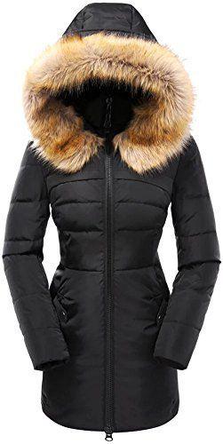 50e8633d0bb Valuker Women's Down Coat With Fur Hood 90D Parka Puffer Jacket 57-Black-L