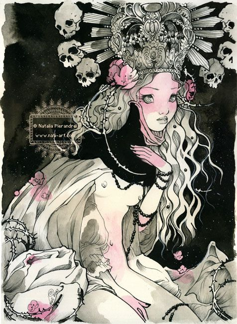 'Black Pearls' - 2012  Black Indian ink, watercolors.   nati-art.com: Watercolor, Surrealist Art, Art Inspiration, Grimes Galleries, Black Indian, Pierandrei Illustratorjust, Natalia Pierandrei, Art Galleries, Black Pearls