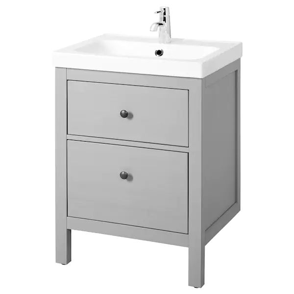 HEMNES / ODENSVIK Sink cabinet with 2 drawers, gray, 24 3 ...