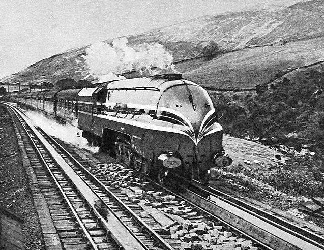"An LMS Princess Coronation class loco heads ""The Royal Scot"" train at Dillcar Troughs."