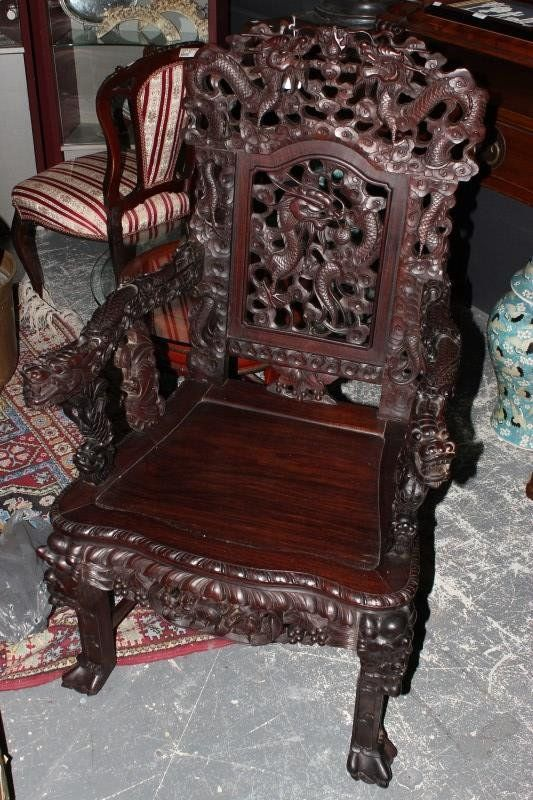 ~ Set of Three Chinese Carved Rosewood Dragon Chairs ~ liveauctioneers.com