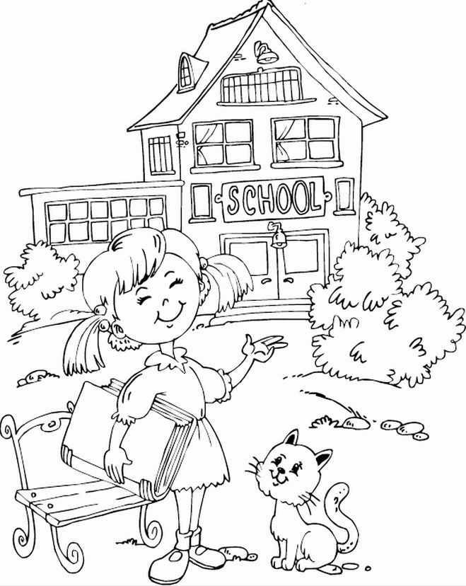 Girl Outside School Coloring Page