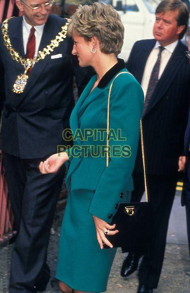 HRH PRINCESS DIANA, THE PRINCESS OF WALES.London England Circa 1990.royal Lady Di half length green suit jacket skirt.CAP/HT.©Hugh Thompson/Capital Pictures