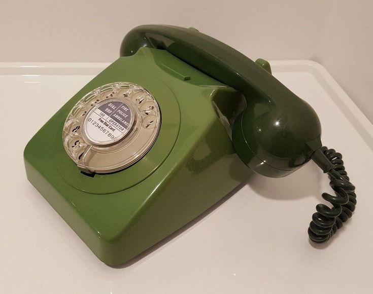 Original Vintage Retro 1970's GPO 746 Rotary Dial Green Telephone Restored