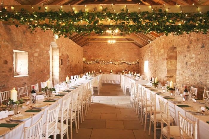 I like the ceiling treatment & tables. Wedderburn Barns Provender Barn set for banquet- wedding venue