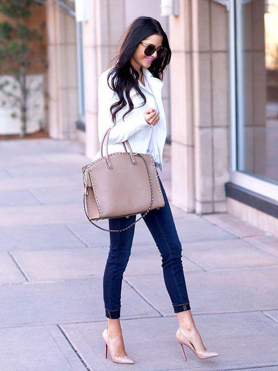 Shop this look on Lookastic:  lookastic.com/…  — White Leather Biker Jacket … – Lookastic
