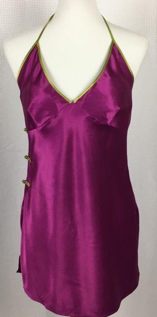 Victorias Secret Womens Nightie Size Medium Halter Tie Chemise Slip Purple Green | eBay