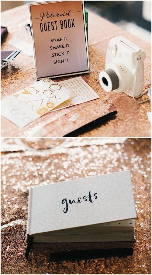 unique Polaroid photo wedding guest book idea; Featured Photographer: Still55 Photography