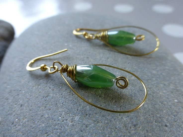 Earrings: Gold Wire Wrapped Emerald Green Glass Beads by TheCatAndTheClasp on Etsy