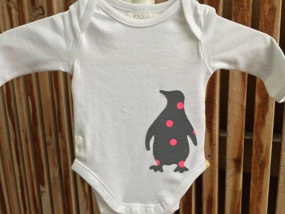 Baby onesie Penguin hand stitched original design by flukybydesign