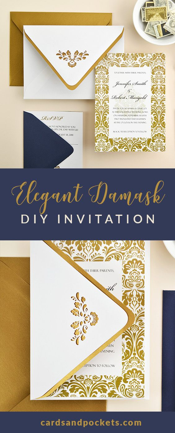 Elegant Navy u0026 Gold Damask Wedding Invitation