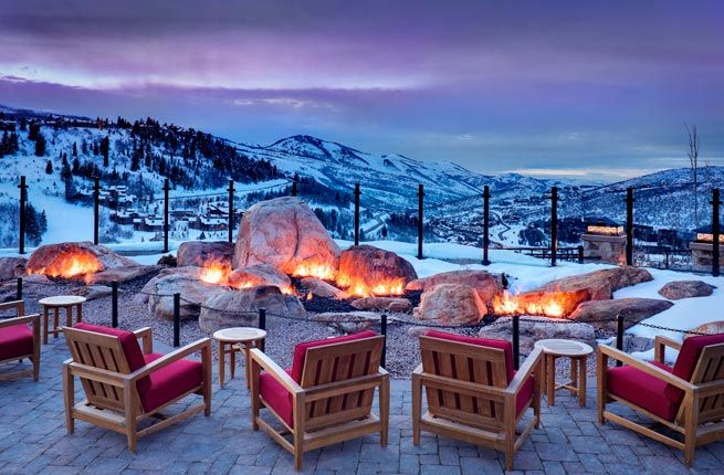 """The St. Regis Deer Valley  Where: Park City, Utah  This Park City hotel offers one of the most luxurious experiences on and off the slopes. Guests of the St. Regis Deer Valley can relax apres-ski on a """"beach,"""" or enjoy a meal at Jean-Georges Vongerichten's J&G Grill, which features quartz clad walls and a double-side wood burning fireplace."""