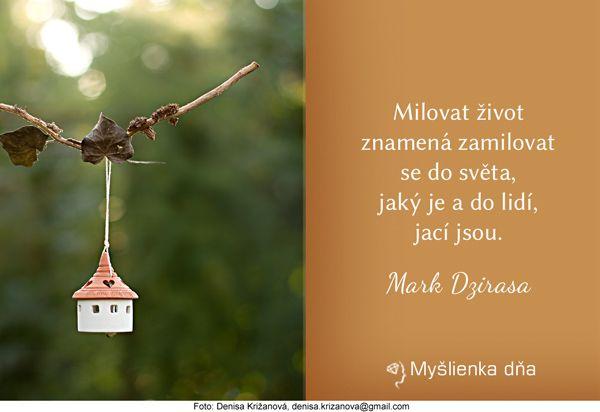 Milovat život znamená zamilovat se do světa, jaký je a do lidí, jací jsou. Mark Dzirasa