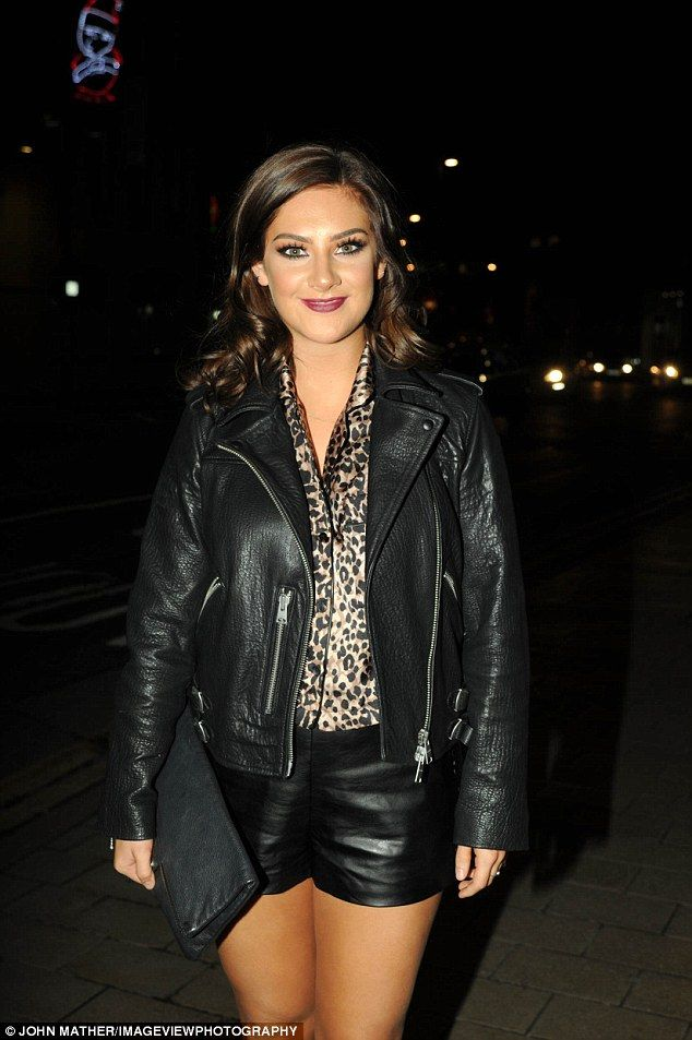 Leather lady: Isabel Hodgins, who stars as Victoria Sugden, went for a super racy ensemble with black leather shorts and a tough biker jacket and a leopard print shirt