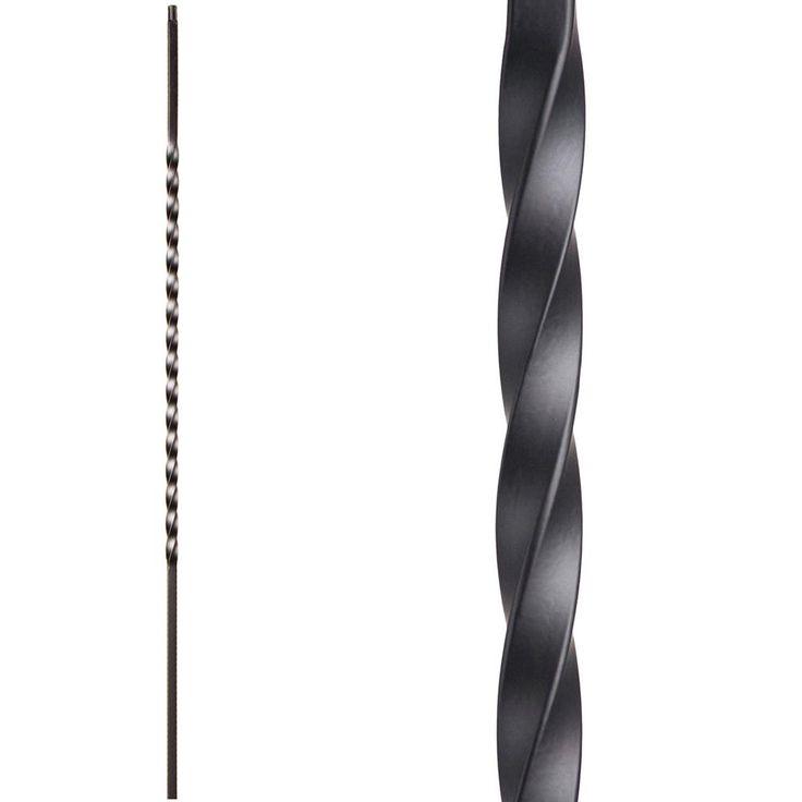 HOUSE OF FORGINGS Twist and Basket 44 in. x 0.5 in. Satin Black Long Single Twist Solid Wrought Iron Baluster