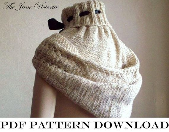 Hooded Cowl Knitting PATTERN Alasse Miriel PDF by TheJaneVictoria