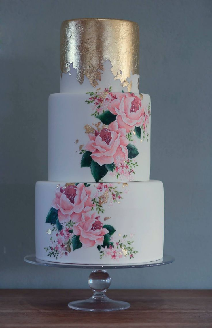 Emily Hankins Cakes - Hand painted cake with oink roses and a gold leaf top tier…