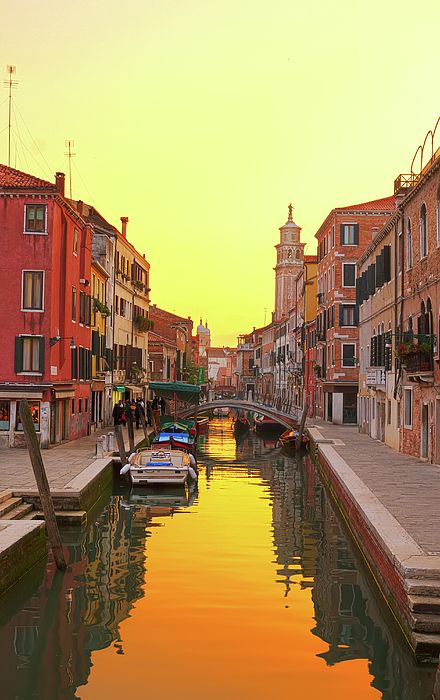 Traitional Venice houses over water of small canal in old town at sunset, Italy by Anastasy Yarmolovich #AnastasyYarmolovichFineArtPhotography  #ArtForHome #Photography #interiorDesign