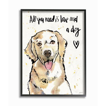 The Stupell Home Decor Collection All You Need Is Love And A Dog Illustration Oversized Framed Giclee Texturized Art Walmart Com Dog Wall Art Stretched Canvas Wall Art Wall Canvas
