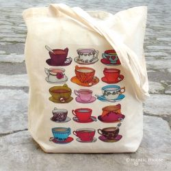 A little blog about drawing teacups in cafes and making tote bags for spring!