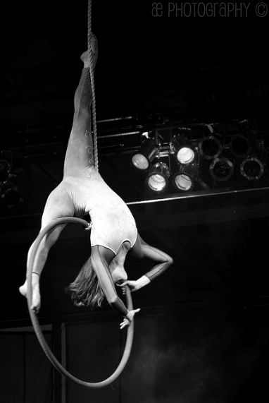 aerialist on lyra hoop