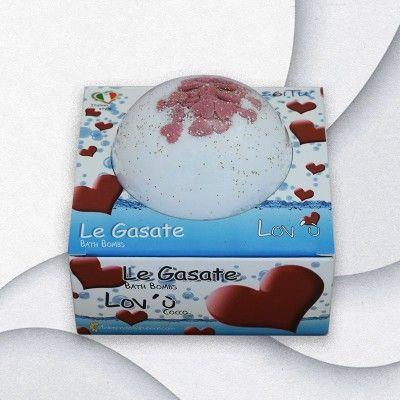 Bomba da bagno LE GASATE LOV'U' cocco selvaggio glitter e tanti cuoricini di zucchero