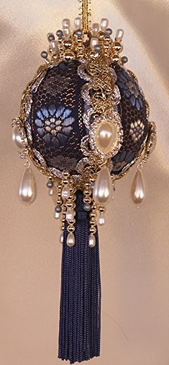 Victorian Christmas Tree Ornament in Royal Blue and Gold with Pearl Teardrops