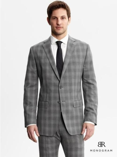 Men S Grey Plaid Blazer White Dress Shirt Grey Plaid