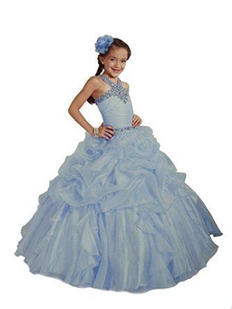 Little Girls Beauty Pageant Dress by Tiffany Princess Glitz 33423, Sky Blue, 6 - Jeweled Glitz Halter Style Bodice; Shimmering Organza Fabric Low Waist; Gathered Pick-Up Long Ball Gown Skirt for a fully poofy look