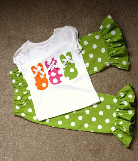 Easter bunny outfit hand appliqued shirt and by MySillyGooseGirl, $28.00