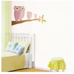 Kids room wall decal 3 pink owls. Wall stickers are just so hot right now!