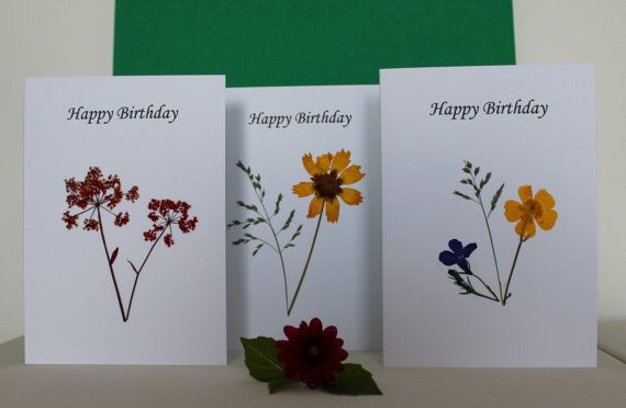 Pressed wild flower cards  Set of 3 Happy by TheOwlTreeIreland