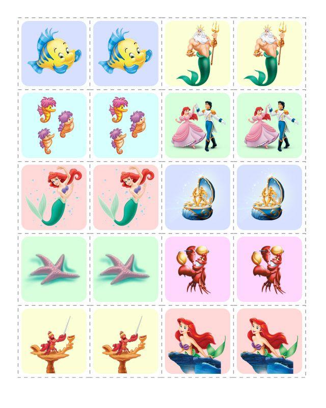 """un memory game """"la Petite Sirène""""... vous  en trouverez plusieurs autres sur le site... voilà qui, une fois de plus, fera aussi des embellissements parfaits pour vos créations !..."""