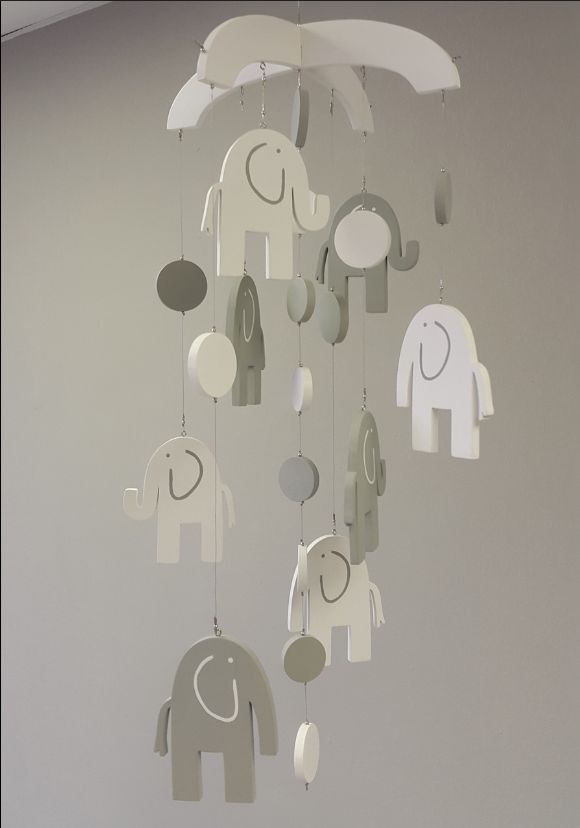 Our wooden #ElephantTheme #BabyMobile in #Grey and #White is perfect for any #NeutralNursery!   #BabyBedding #BabyLinen