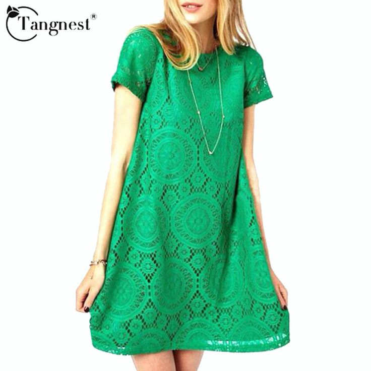 TANGNEST Vestidos Femininos Woman Casual Dress 2016 Summer Short Sleeve O-Neck Plus Size Lace Dresses Vestido De Renda WQS062