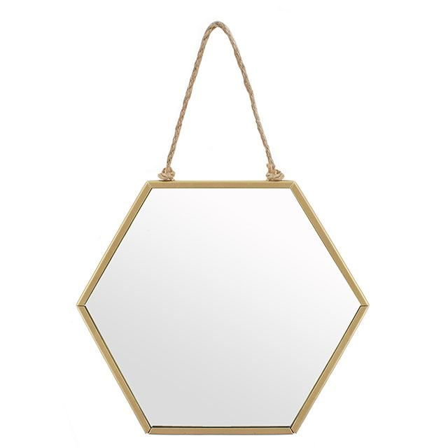 Small Gold Geometric Mirror
