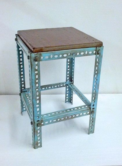 Metal Table Blue Paint Steel Plant Stand Pedestal Steampunk End Refurbished T7