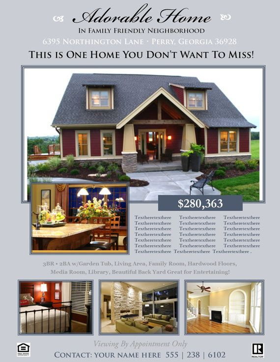 Sample Sales Brochure Real Estate Flyer Open House Or For Sale