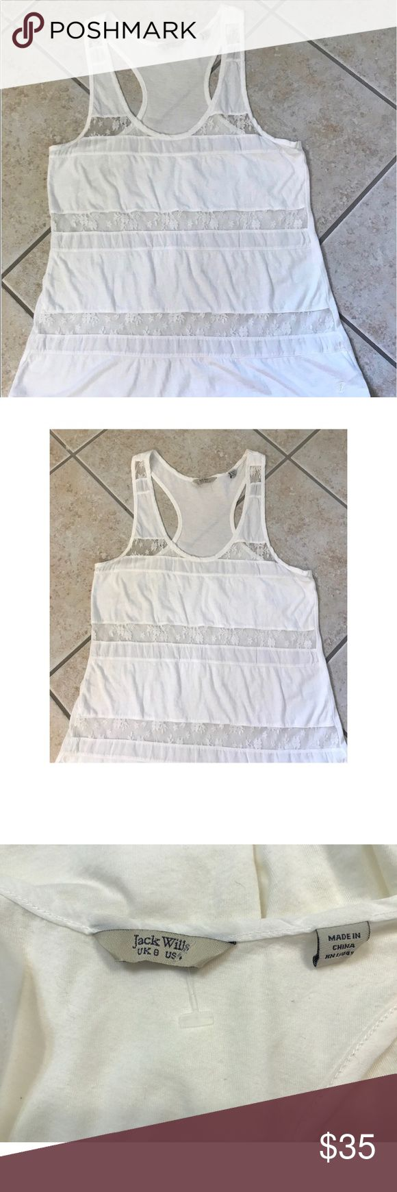 Jack Wills Cotton & Lace tank Jack Wills cotton and Lace white raced back Tank in excellent condition! Jack Wills Tops Tank Tops